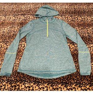Z by Zella Blue 1/4 zip hoodie thumb hole L jacket